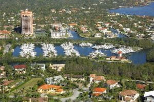 arial view of cocoplum yacht club and houses