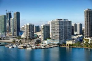 aerial view of biscayne bay and the double tree hotel
