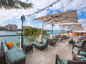 View of the biscayne bay from the exterior of a restaurant