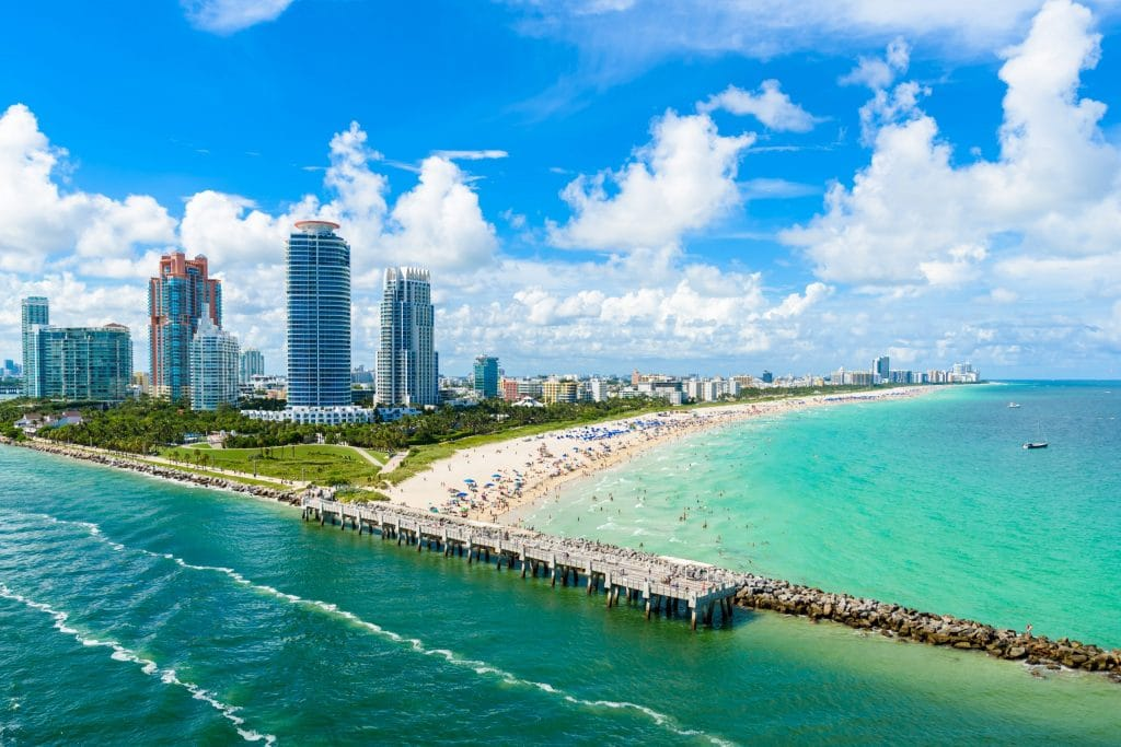 south pointe beach aerial view
