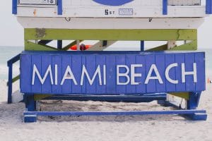 Photo of Miami Beach placard on one of the lifeguard stations on Miami Beach